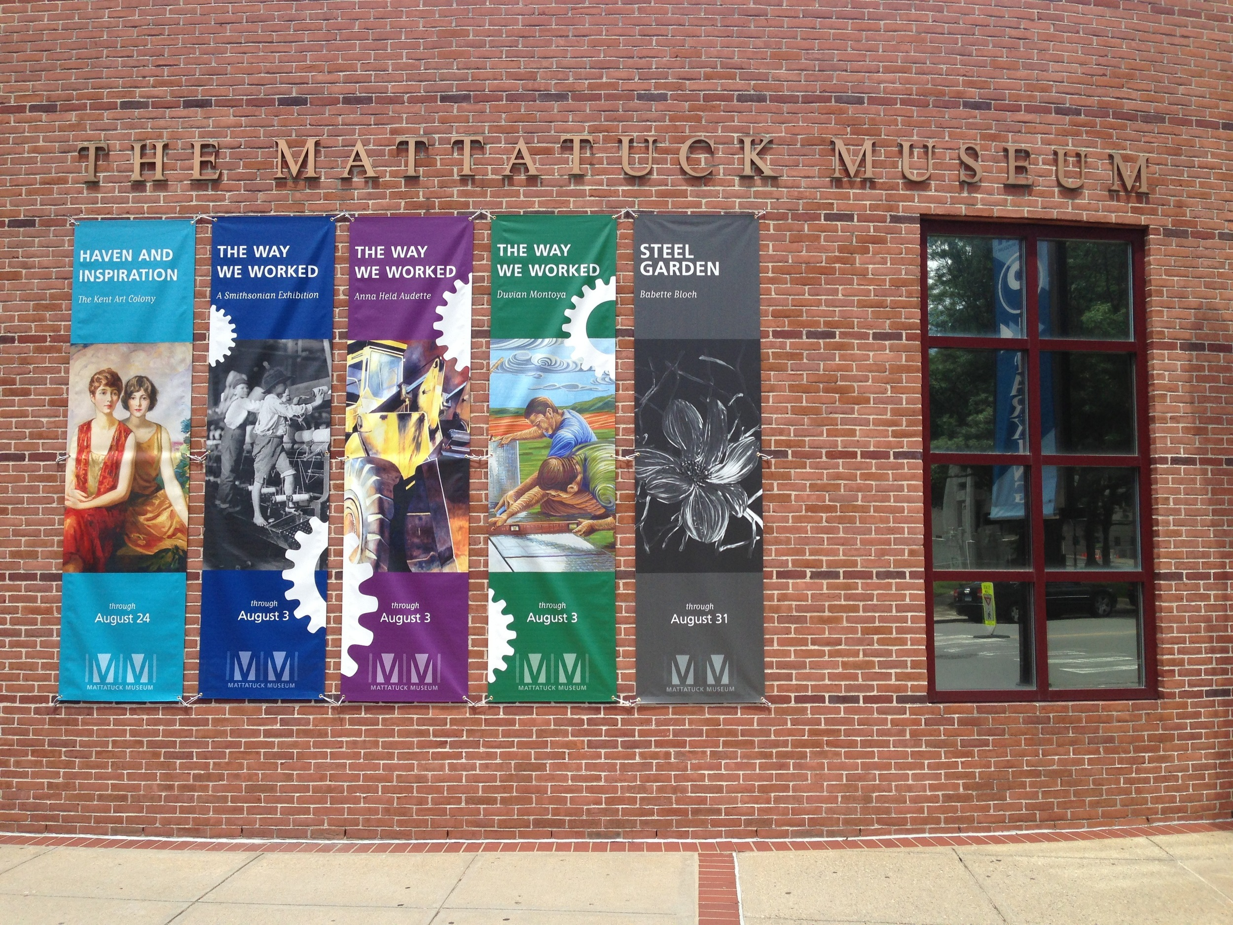 A large banner of my work on the front of the Mattatuck Museum....Awesome