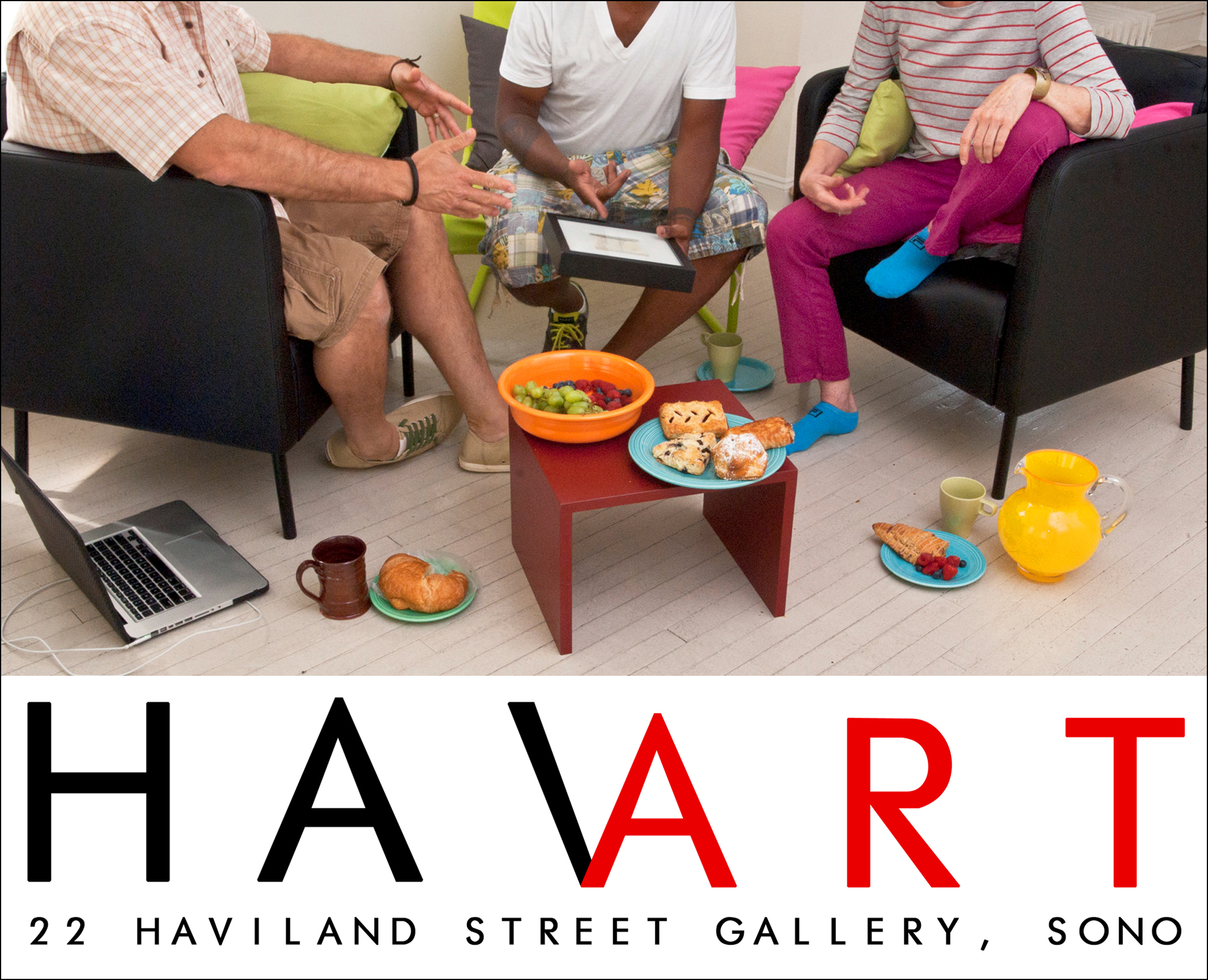 """22 Haviland Street Gallery  is proud to present """"HAVART"""", A diverse art exhibit featuring 6 Regional Artists. The opening receptions coincide with the SONO Arts Celebration weekend and is the kickoff to our 12th August in SONO.    Opening Brunch, Saturday, August 16th 10am – 1pm   Evening Reception, Saturday August 16th 5  pm – 7pm  Closing Reception, Wednesday, September 10th 5pm – 8pm  Featured Artists;   Vincent Calenzo ...Painter of Comedic Situations   Jahmane Artz ...Graffikollage Artist   Duvian Montoya ...LifeStyle Narratives   day moore ...Minimalist Landscape Painter   Constance Old ...Fiber Wall Art Pieces  Becca Swartz...Mandala Artist  Gallery Hours: Thursday – Sunday 3pm – 6pm and by Appointment"""