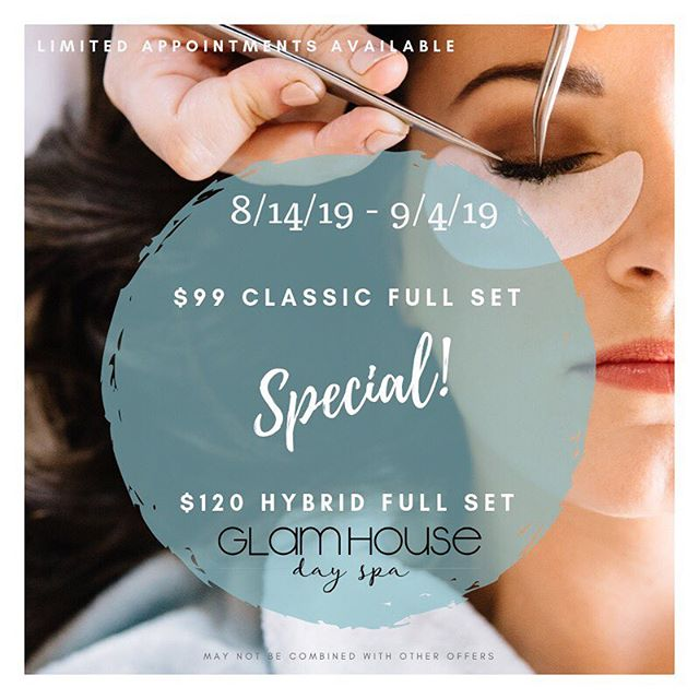 ✨L A S H  S P E C I A L ✨ Call to book! 540-266-7973  We want you to celebrate with us as we welcome our newest GlamHouse Girls to our team! From now until September 4th, enjoy an eyelash extensions special of $99 for a Classic Lash Full Set or $120 for a Hybrid Lash (mix of volume and classic) Full Set!  Appointments are limited and will be on a first come, first serve basis.  #calltobook 540.266.7973 #eyelashextensions #hybridlashes #classiclashes formerly #lashetc #dayspa #glamhousegirls