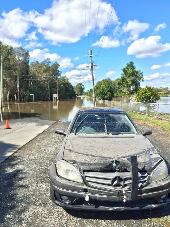 A Mercedes gets a little wet on Fursden Road