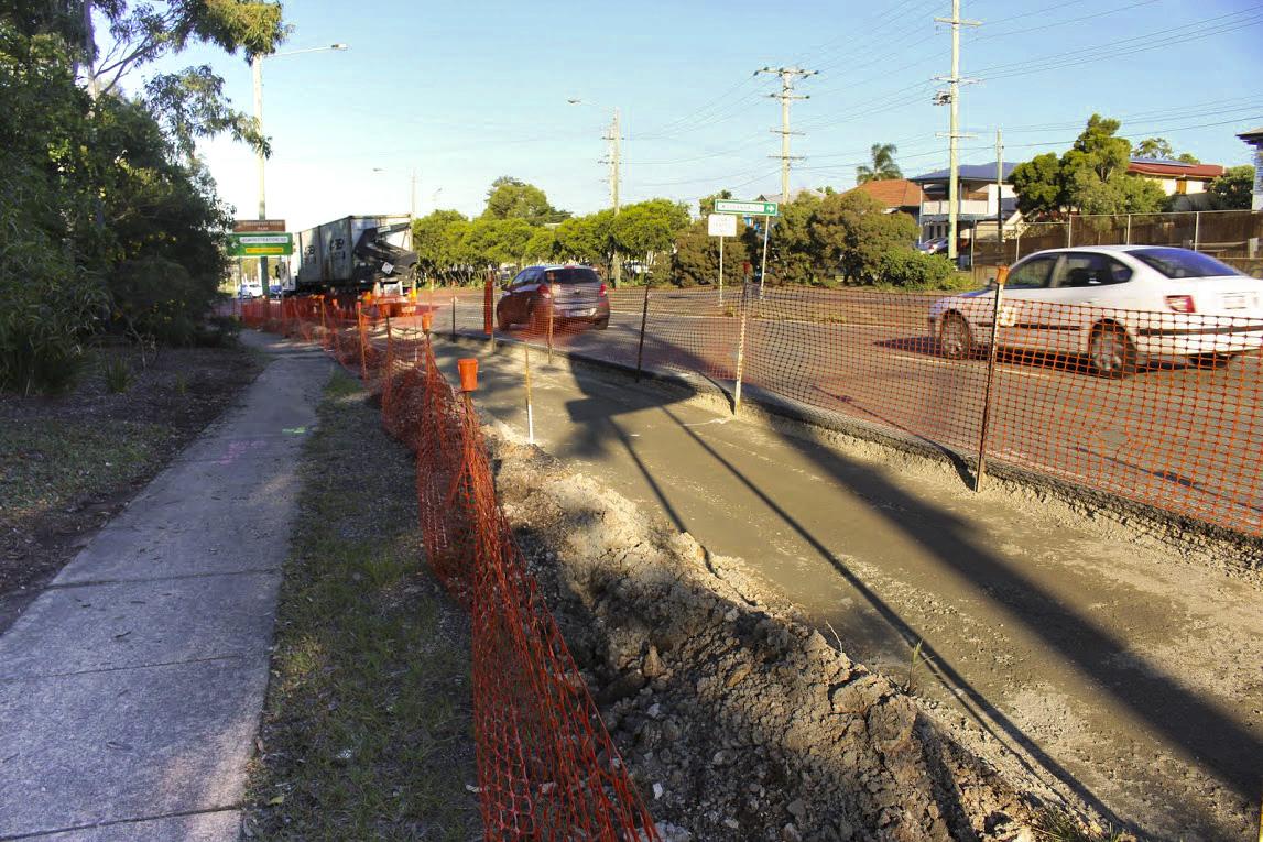 Road widening to accommodate the new bike lane