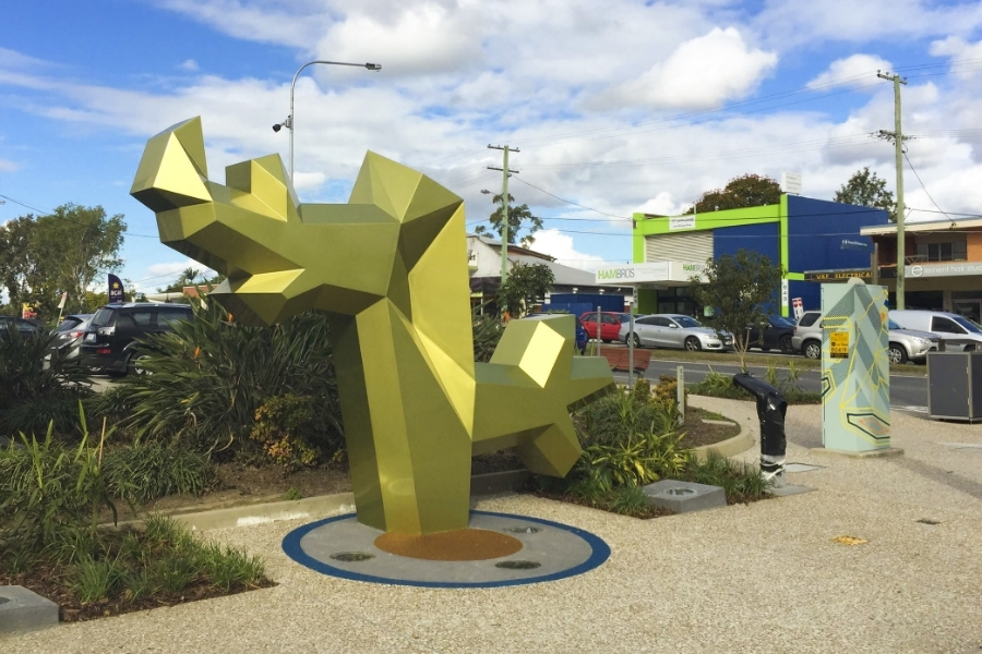 sculpture titled, 'tree' was designed by two local artists, james and Eleanor Avery