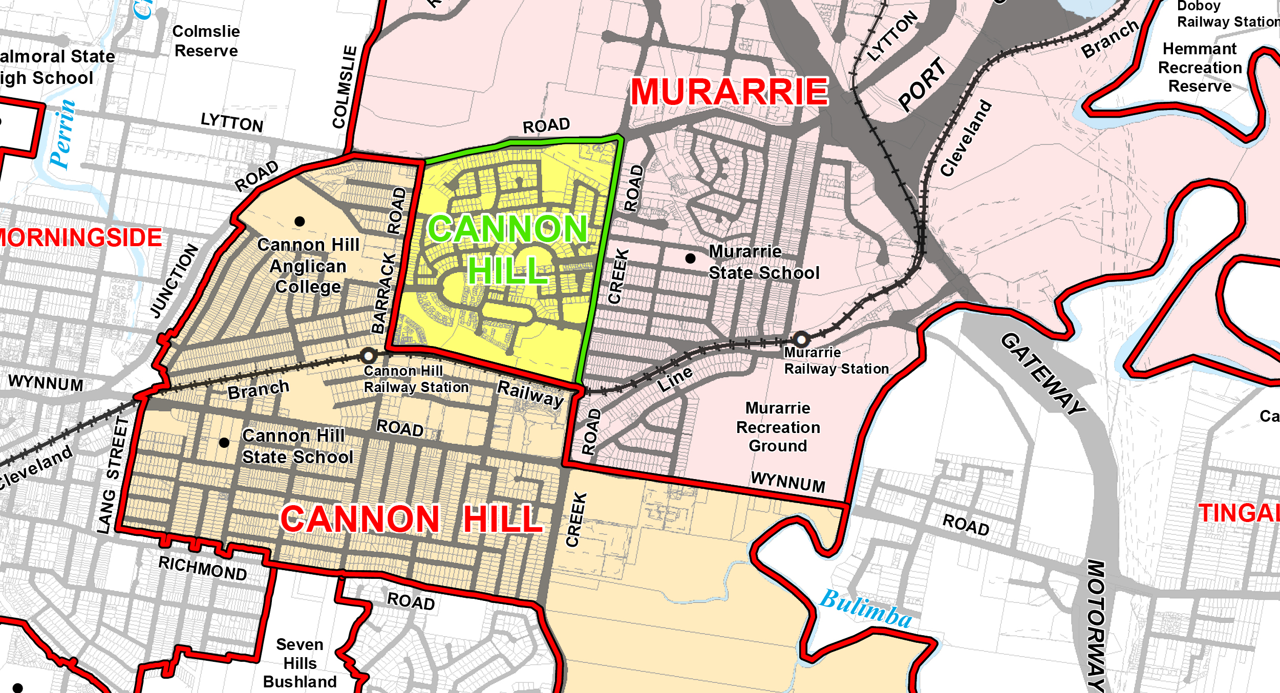 THE HIGHLIGHTED GREEN AREA OF MURARRIE IS PROPOSED TO BECOME CANNON HILL