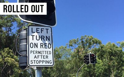 Left Turn on Red  The congestion busting Left Turn on Red initiative has now been rolled out to the intersection of Meadowlands and Belmont Road.