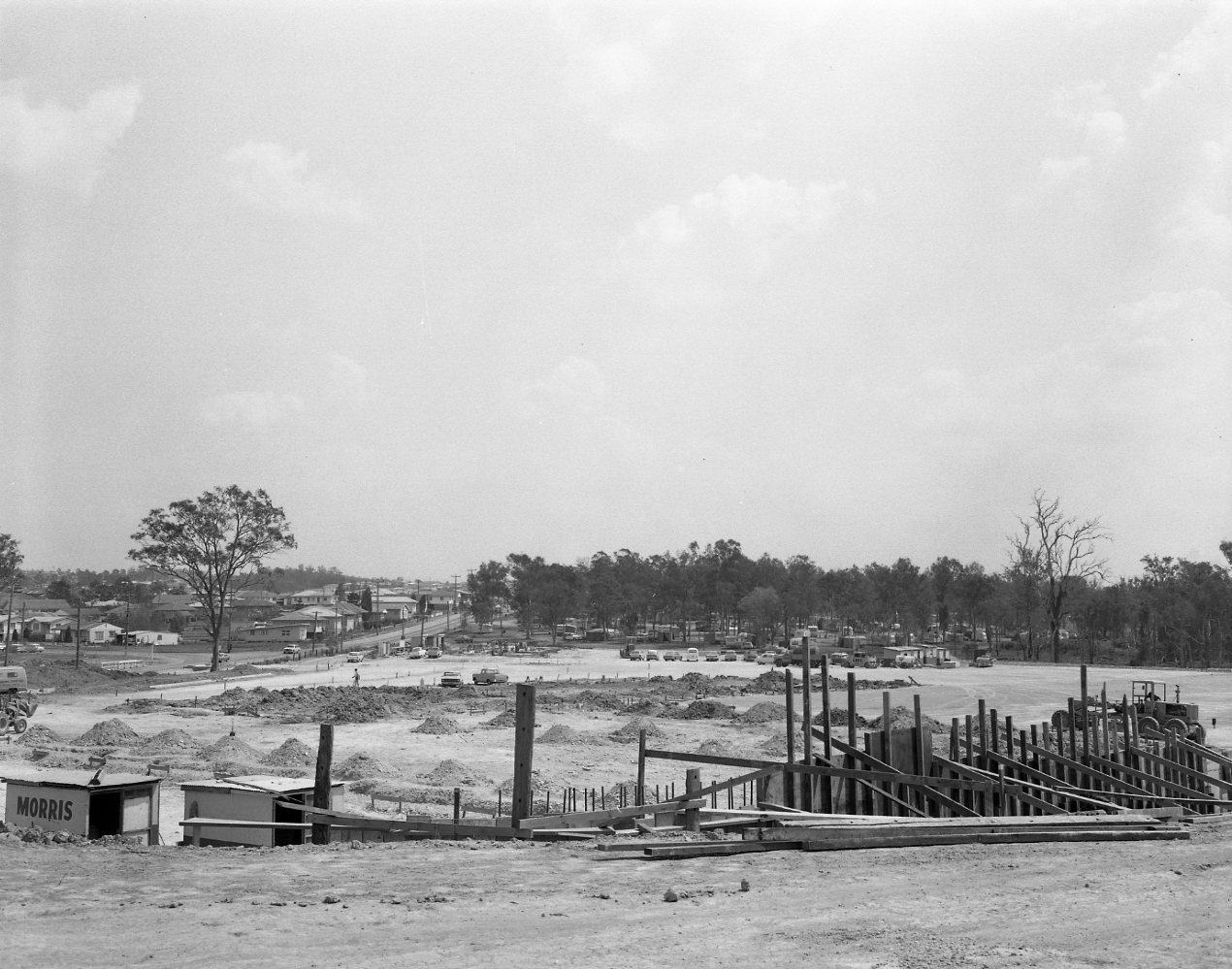 Carina Bus Depot under construction in the 1960s
