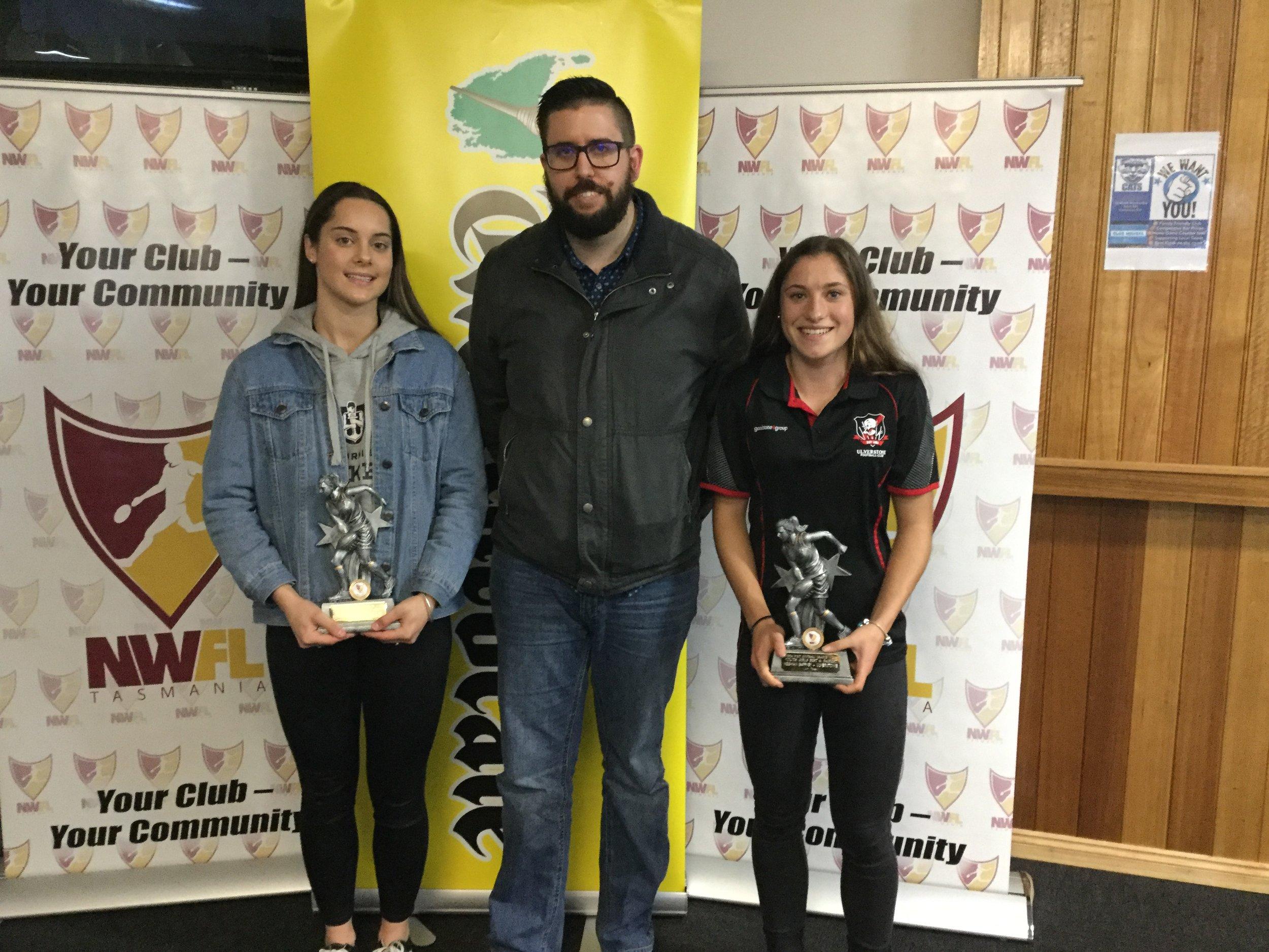 Youth Girls B&F Winners - Ruby Mitchell Burnie, Meghan Gaffney Ulverstone (Alex Fair The Advocate middle).JPG
