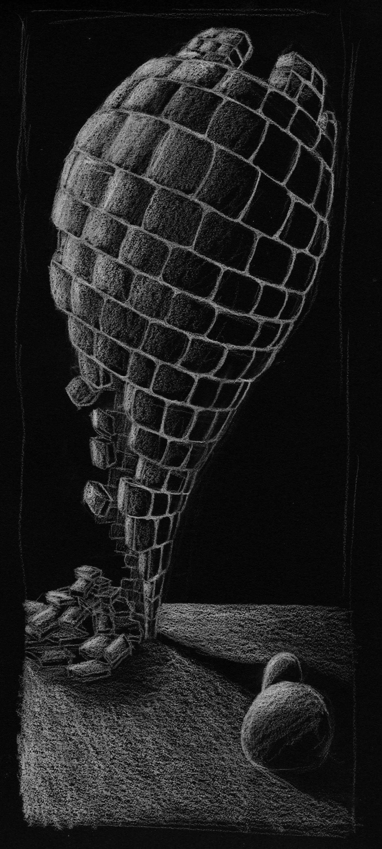 Drippy Castle • White conte on black paper • 100