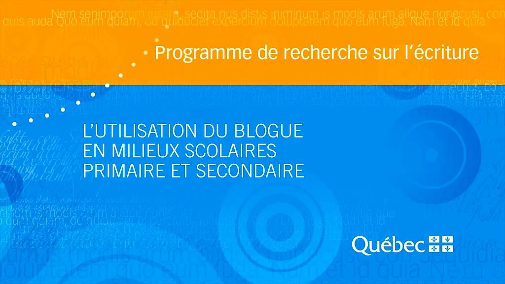 Capsule réalisée à partir de la recherche suivante  : ALLAIRE, Stéphane et Pascale THÉRIAULT,  L'utilisation du blogue en milieux primaire et secondaire : des initiatives prometteuses à étayer sur le plan de la recherche. Recension des écrits (2004-2010) , Université du Québec à Chicoutimi, 2010.