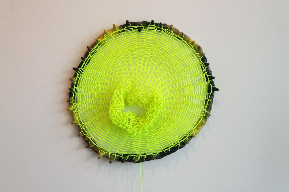 Loom Clock II , 2012, Clay and plastic, 2 x 18 x 18 in.