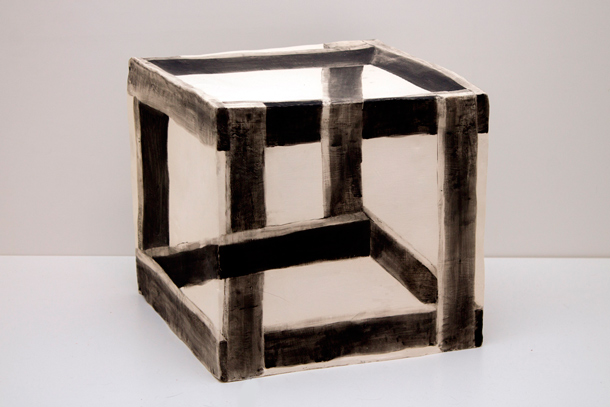 Wooden Crate Illusion , 2015, Glazed Ceramic, 12 x 12 x 12 in.