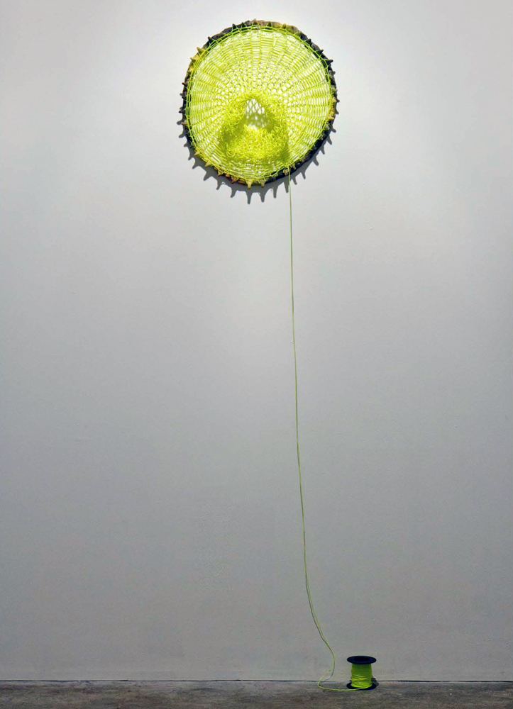 Loom Clock II , 2012, Clay and plastic, 2 x 18 x 18 in.