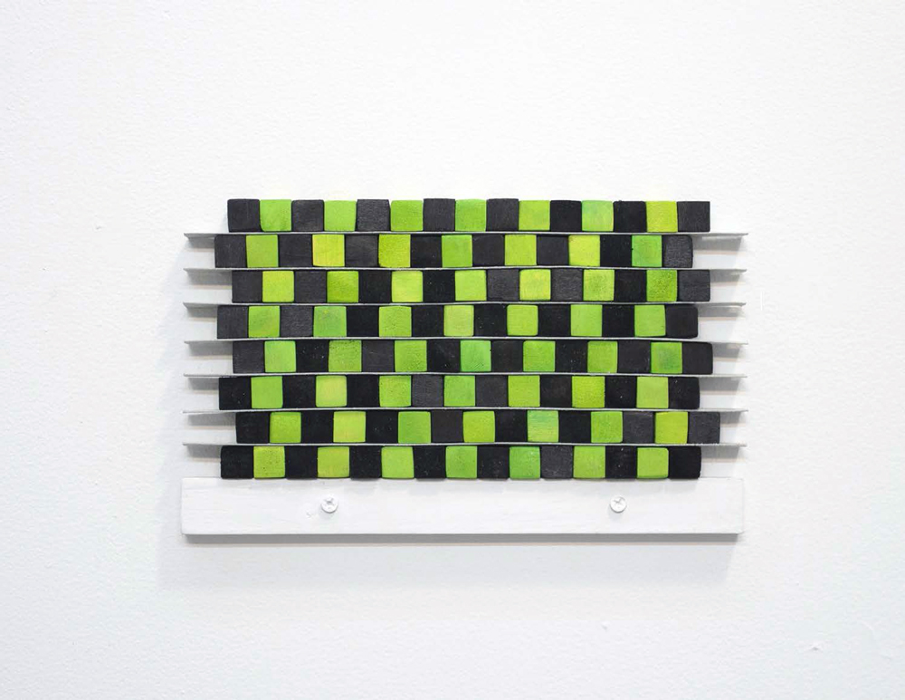 Cafe Wall I , 2013, wood, paint and plastic, 5 x 8.5 in.