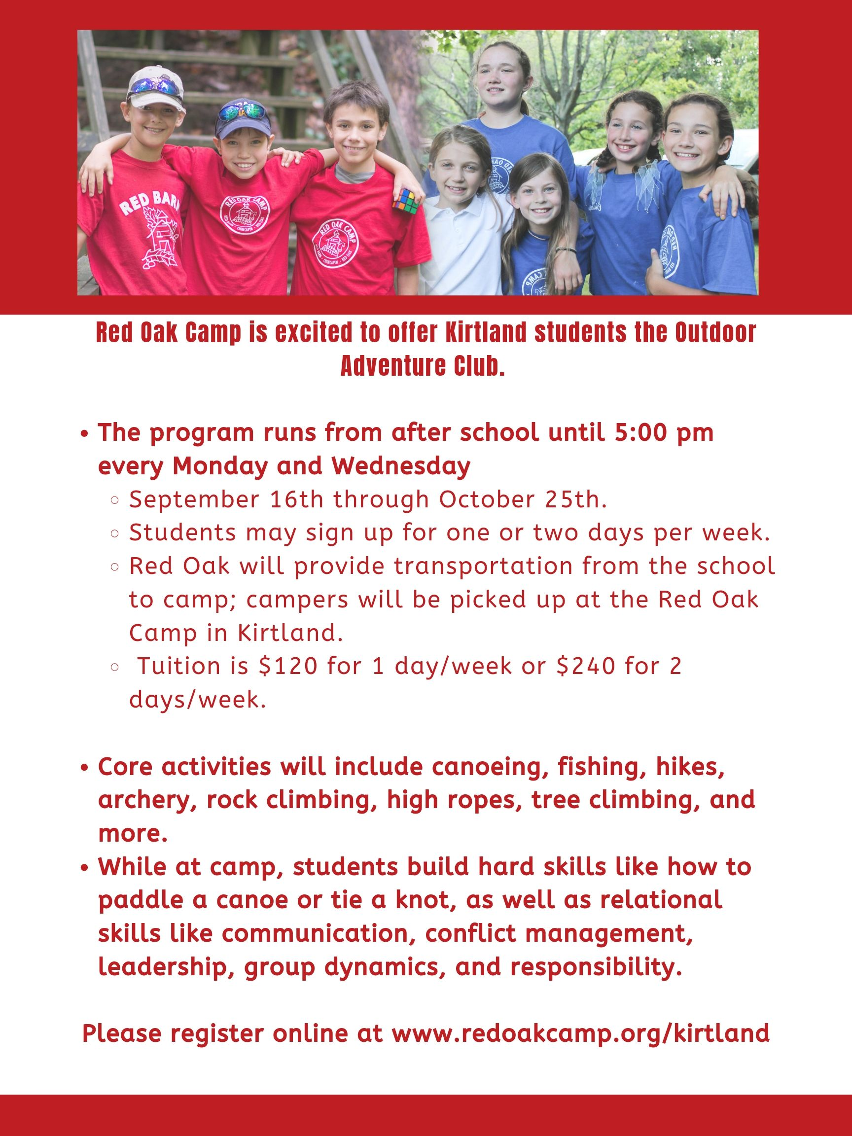 Red Oak Is proud to offer the Kirtland Adventure club.  Register here