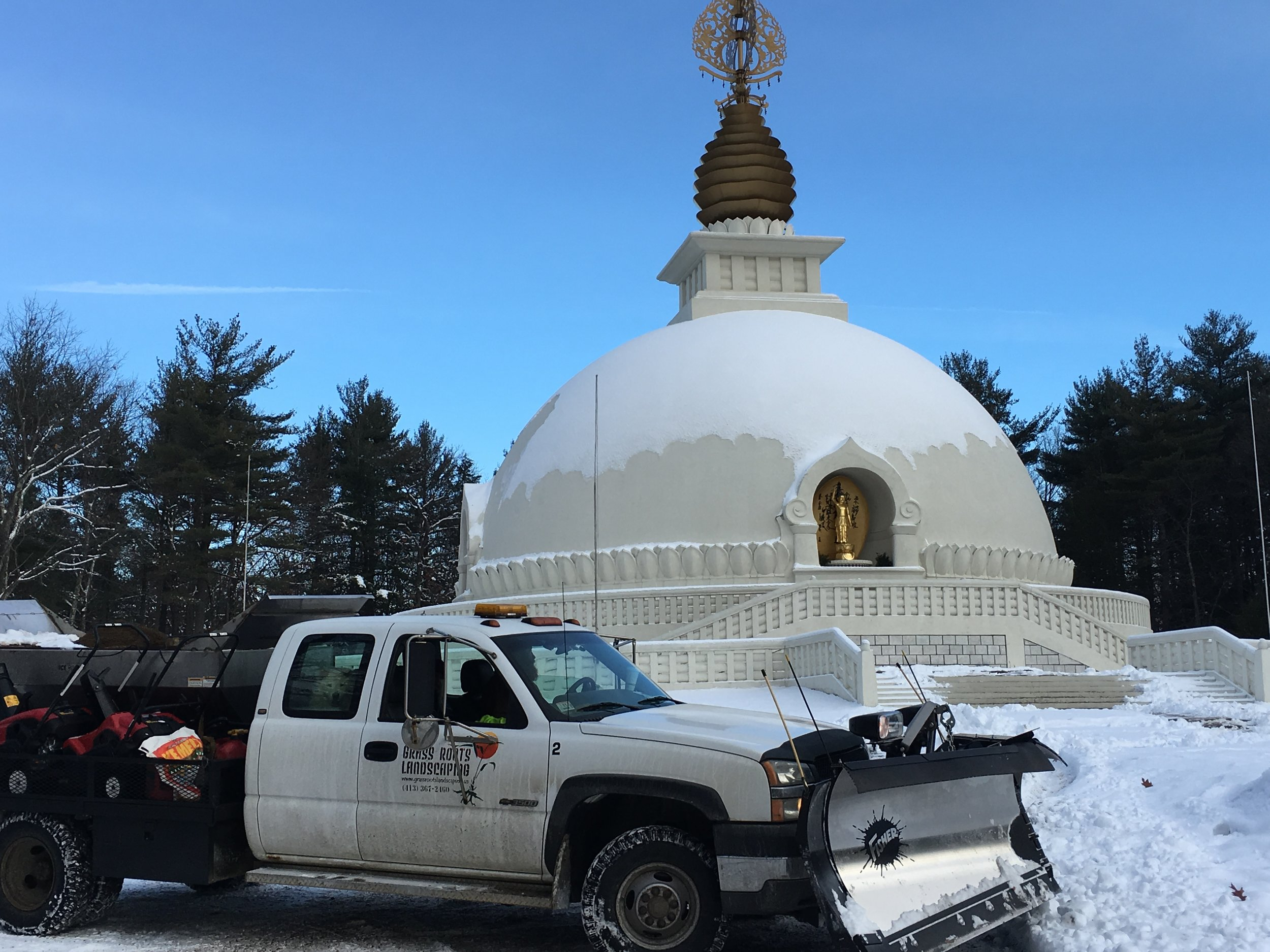 Family plowing at the Peace Pagoda