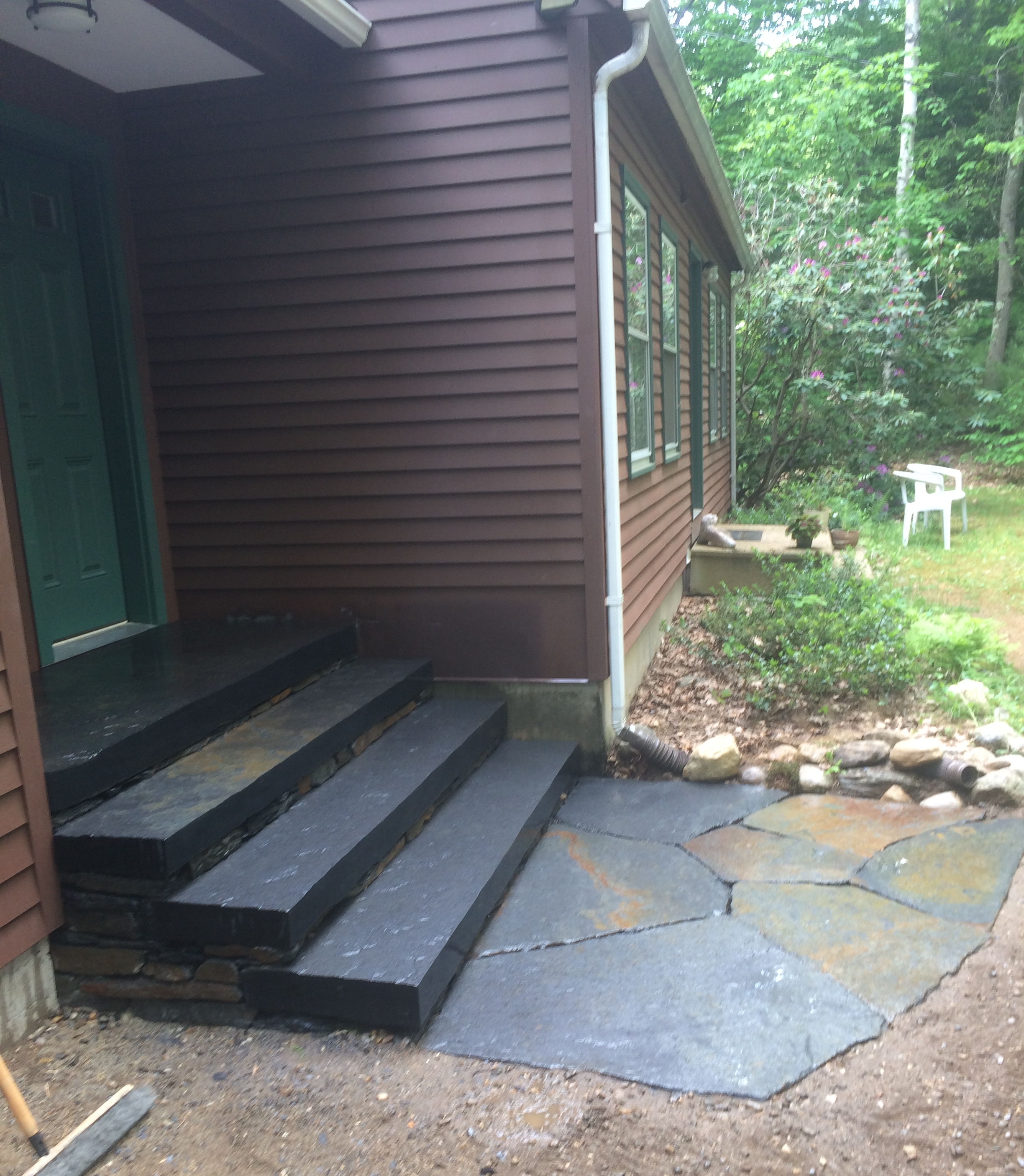 Cut and polished stone steps and landing