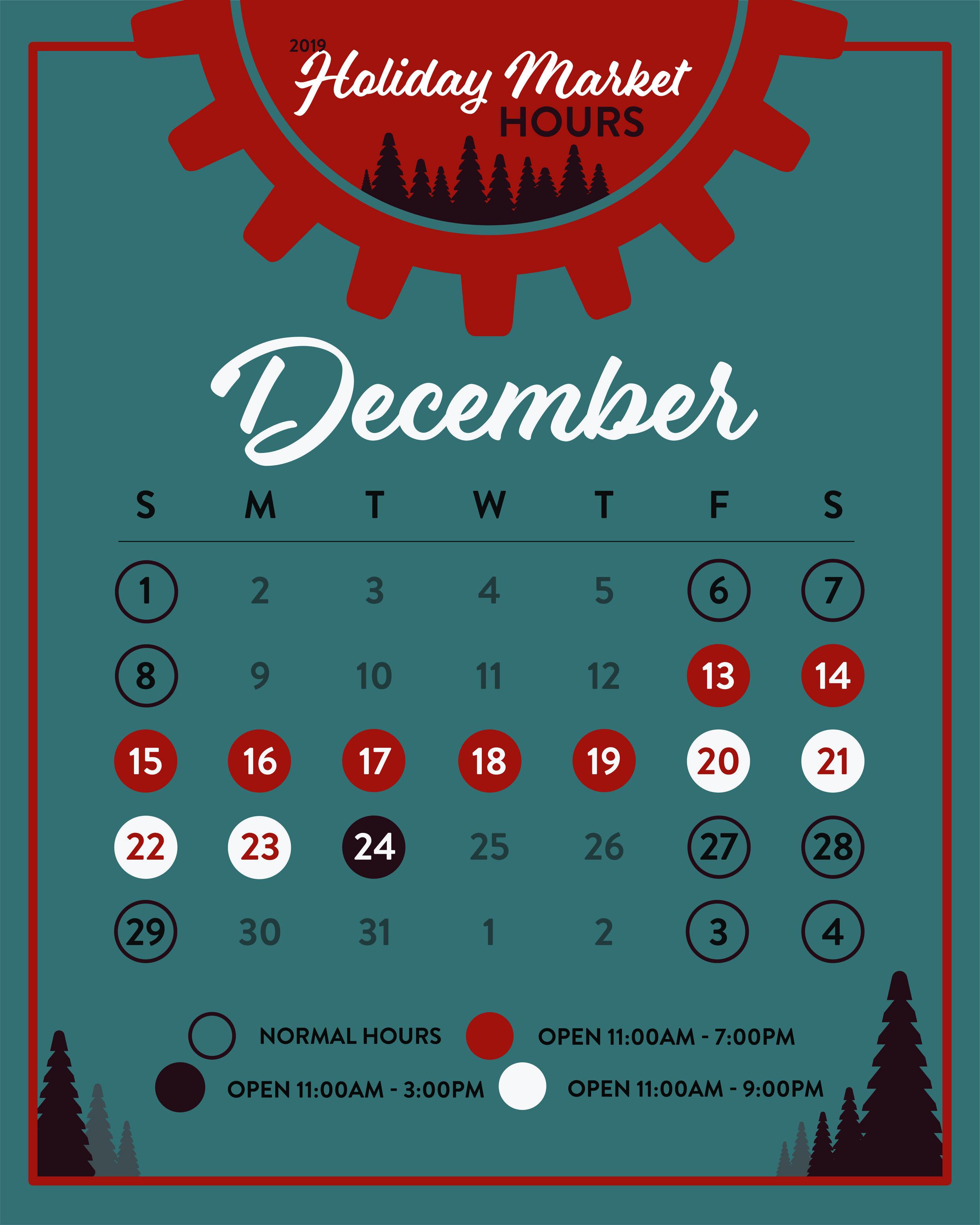 2019 holiday hours calendar