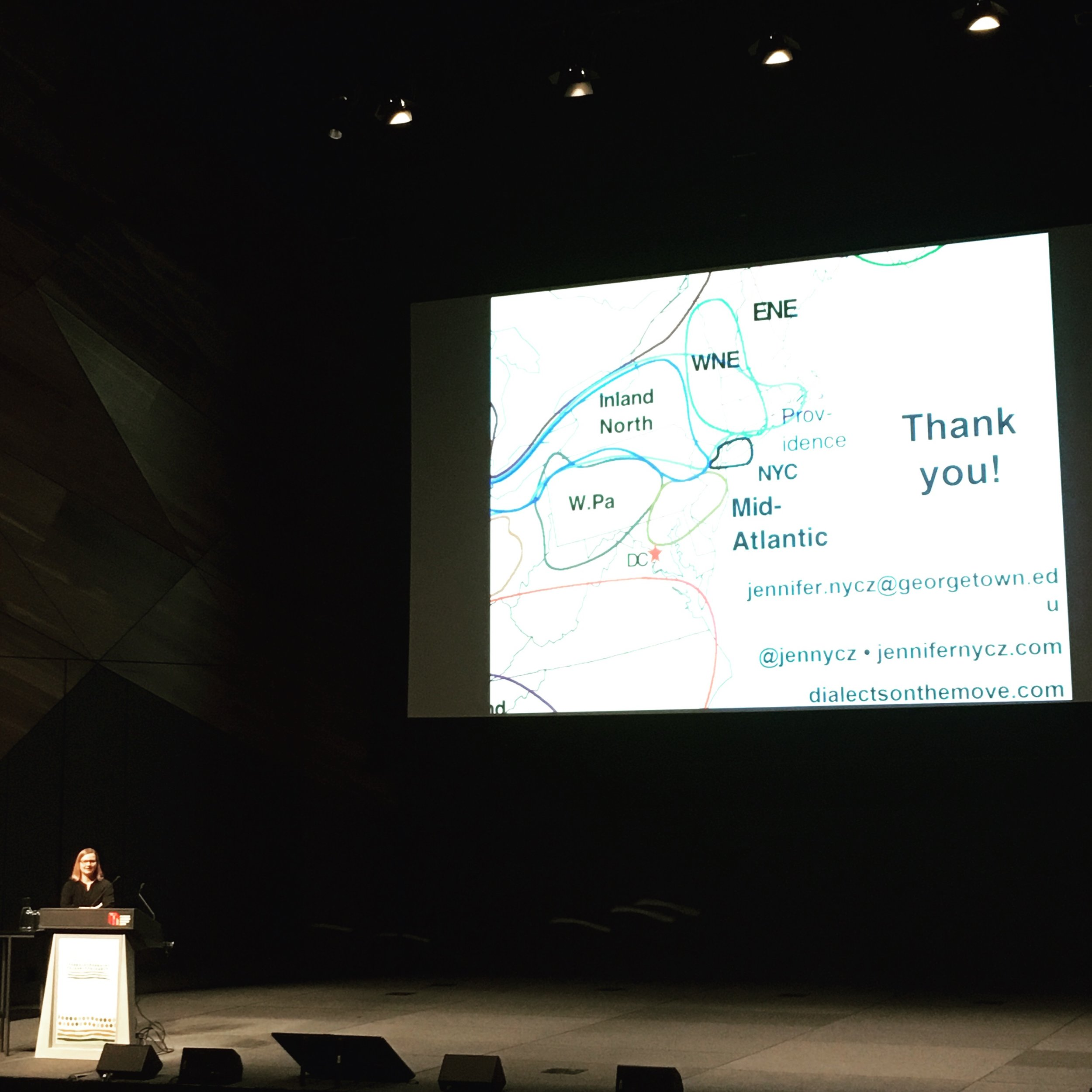 Concluding my talk (thanks to Maddie Oakley for the photo!)