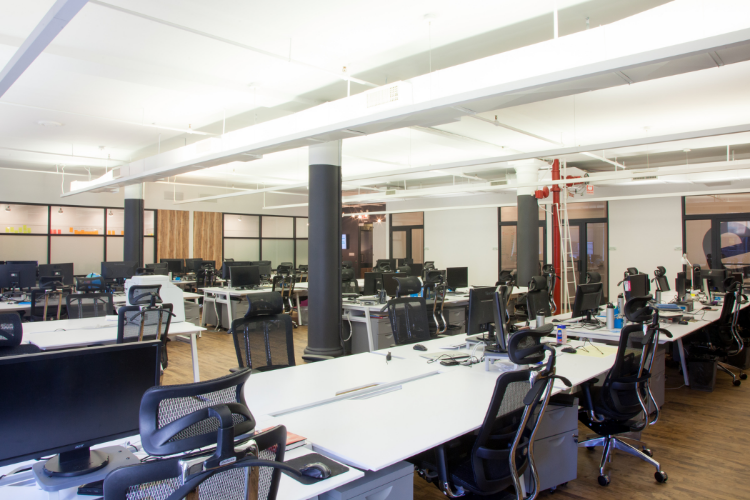 Open office layout at Taykey in NYC.