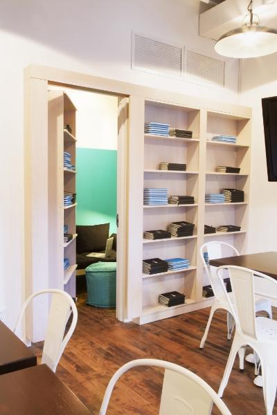Hidden bookshelf room in Taykey's office.