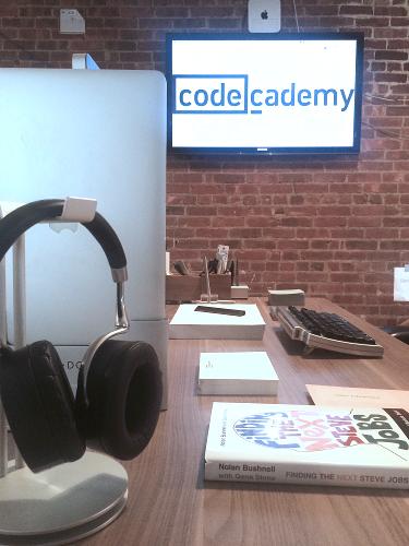 Zach's work desk at Codecademy
