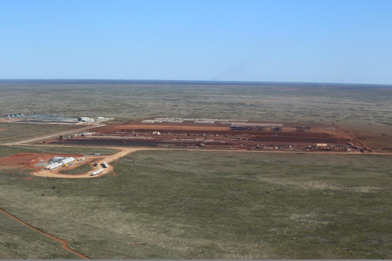 Port Hedland mother station site - aerial view with quad road trains in turning circle