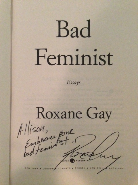I heart  Roxane Gay . I follow her online where her  tweets  are pithy and profound, lol funny, and utterly entertaining. I love her brave, beautiful, brilliant collection of essays on gender, race, sexuality, and pop culture,   Bad Feminist  . My colleague and I even have an unofficial two-person Roxane Gay fan club. (Meetings consist of us running into each other in the hallway and saying how great Roxane is.) And yesterday I got to meet her!!! A few days ago Roxane found herself in California and tweeted that she was looking for a store to do a reading at for  California Bookstore Day ;  Vroman's  answered the call and I found myself hanging out with her before her reading, totally geeking out. In person she was gracious and whip smart, funny and charming, in an unassuming, quiet way. Her debut novel,   An Untamed State ,  about a ravaged Haiti and one family's nightmare in the wake of a kidnapping there, is just out and receiving rave reviews from   Publisher's Weekly  ,   Kirkus  , and  Tom Perotta , to name a few. Roxane also contributed a small, limited edition chapbook for California Bookstore day, called  Urgent, Unheard Stories —only available at independent bookstores.    For me what makes Roxane one of the greats is that she engages in one of the ultimate political acts: she speaks the truth. And that's the only way the world can ever change. In the meantime, while we wait for the world to change, she makes the wait enjoyable. I thank her for doing both.