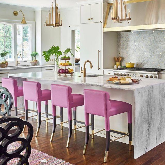 @newportbrass #love this #kitchen! #pink #kitchen #design #bright #homes #interiordesign #kitchenandbath #brass #brassfaucet #lecreuset #marble #calcutta #slab #island #kitchenisland #pendant #kitchenpendant #decor #remodel #losangelesrealestate