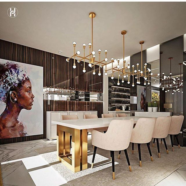 Wow! What a dining room from one of our favorite designers @ashleytstark! We love the combination of gold, wood and marble! Get the lighting from our showroom: . . . . David Meyer Showroom  6110 W Pico Blvd  Unit C  Los Angeles, CA 90035 . . . #interior_and_living #interior4inspo #homedecor #homestyle #elledecor #interior #interiors #interiordesign #interiordesigner #interior4you #interior_design #livingroomdecor #livingroom #livingroominspo #livingroomdesign #chandelier #chandeliers #architecture #bespokedesigns #diningroom #diningroomdecor #gold