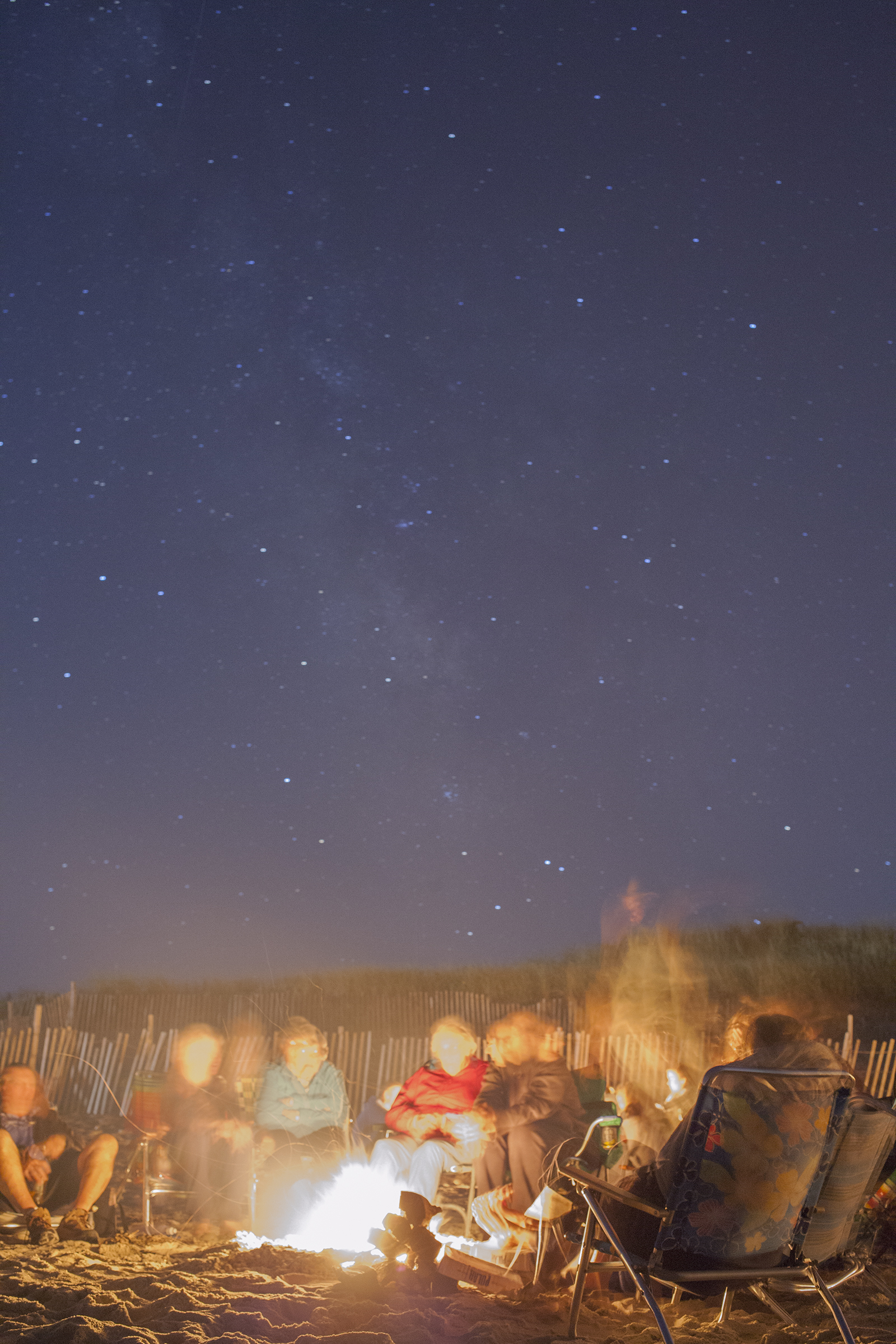 The Milky Way and a beach fire. Sandwich, Cape Cod