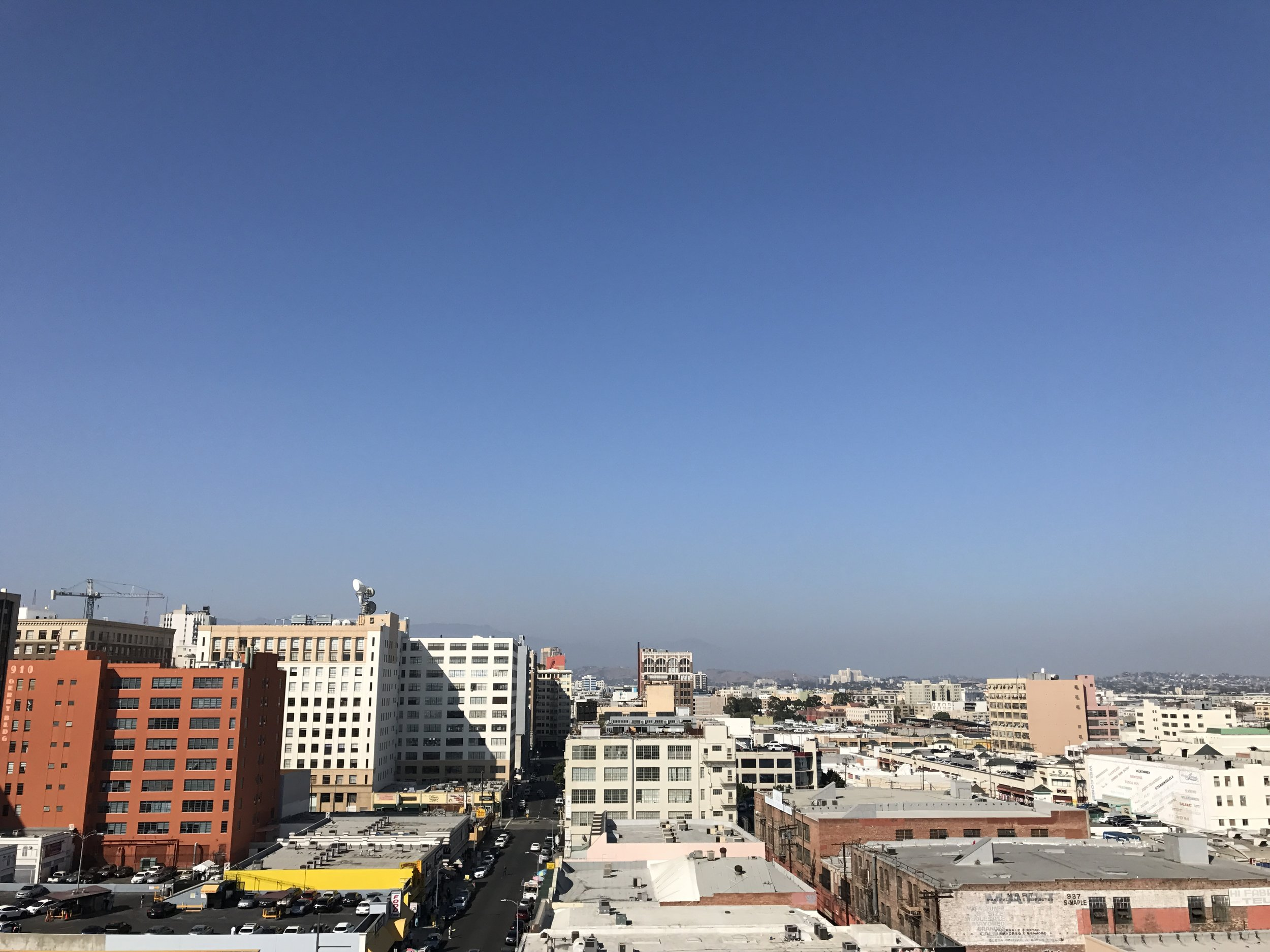 View of DTLA from roof top of Apex Studios.