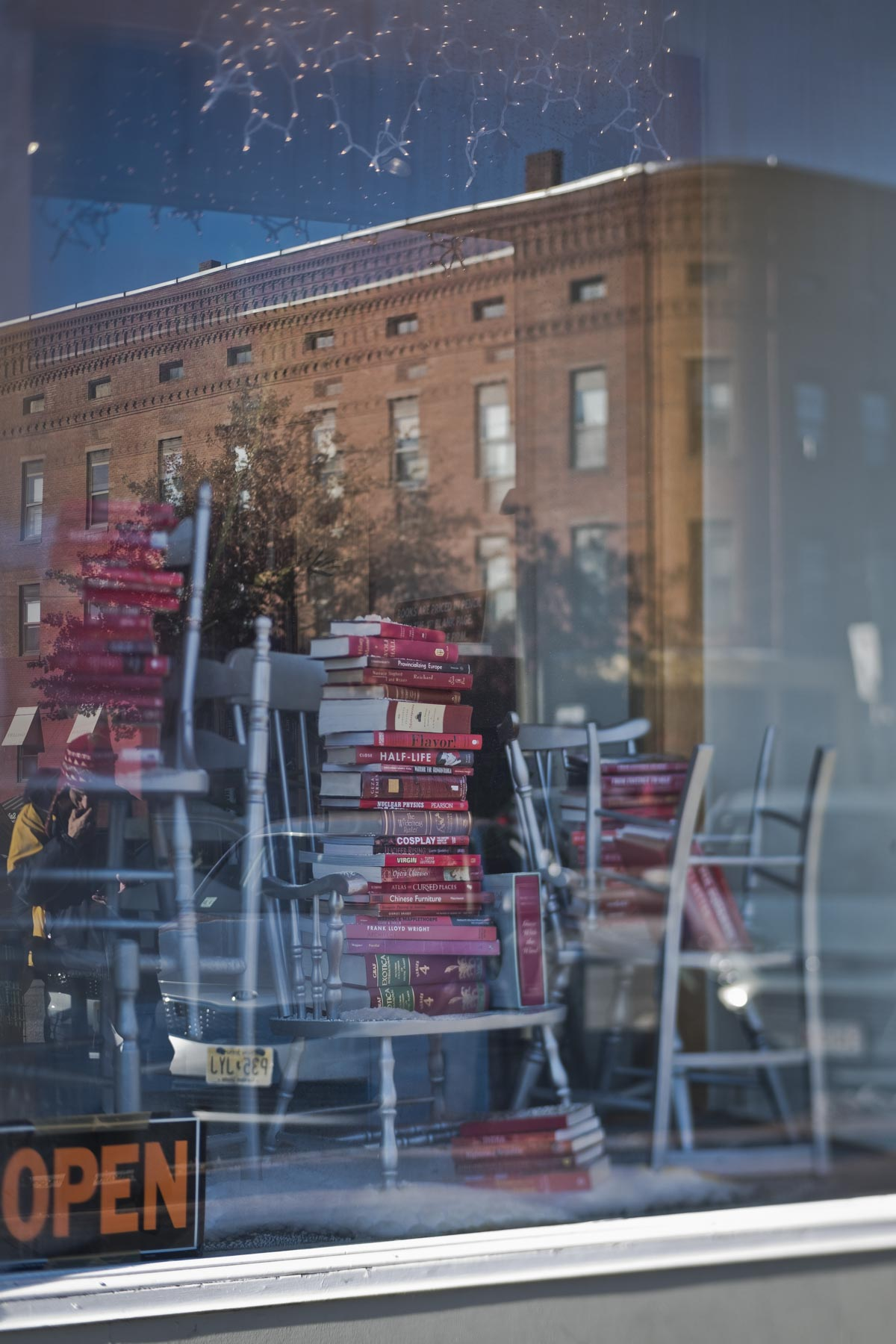 Red books in a store front