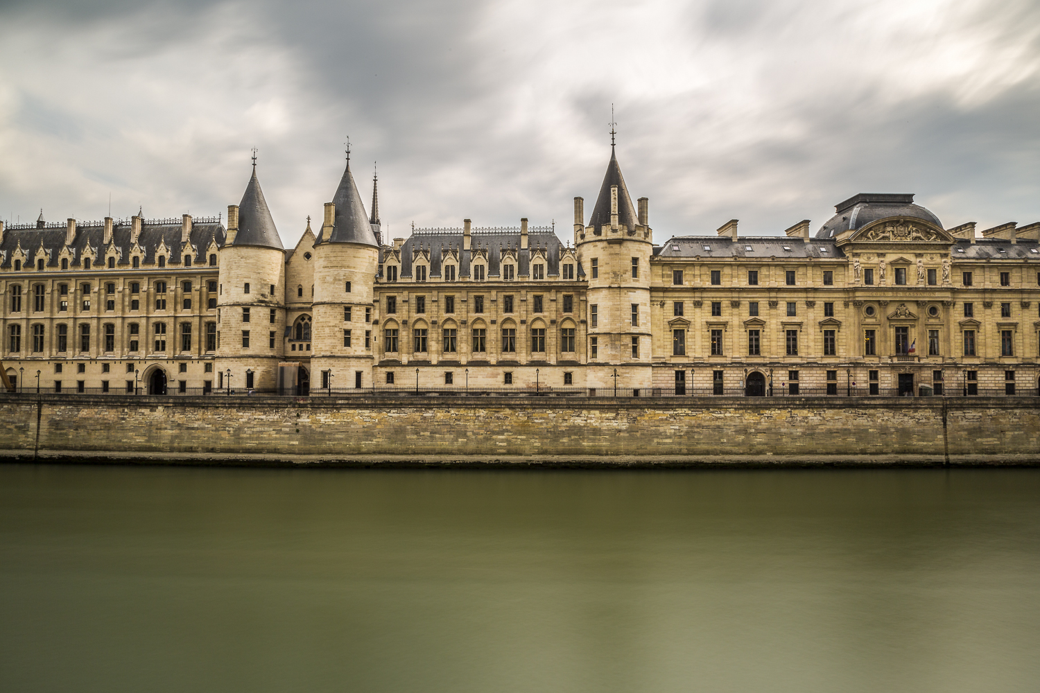 The Palace of Justice and the Seine River. Paris.