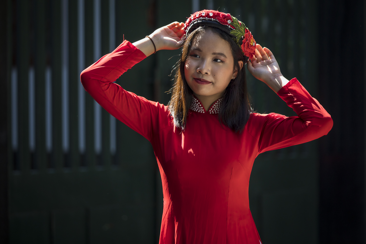Red Ao Dai and hard light