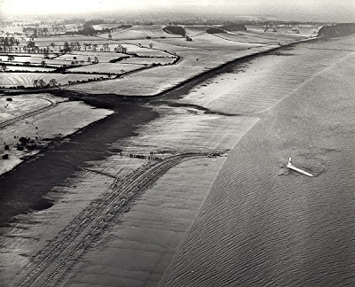 G-ALRX shortly after its forced landing on the Severn mudflats, showing its track as it slid along the mud before veering right into the Estuary.