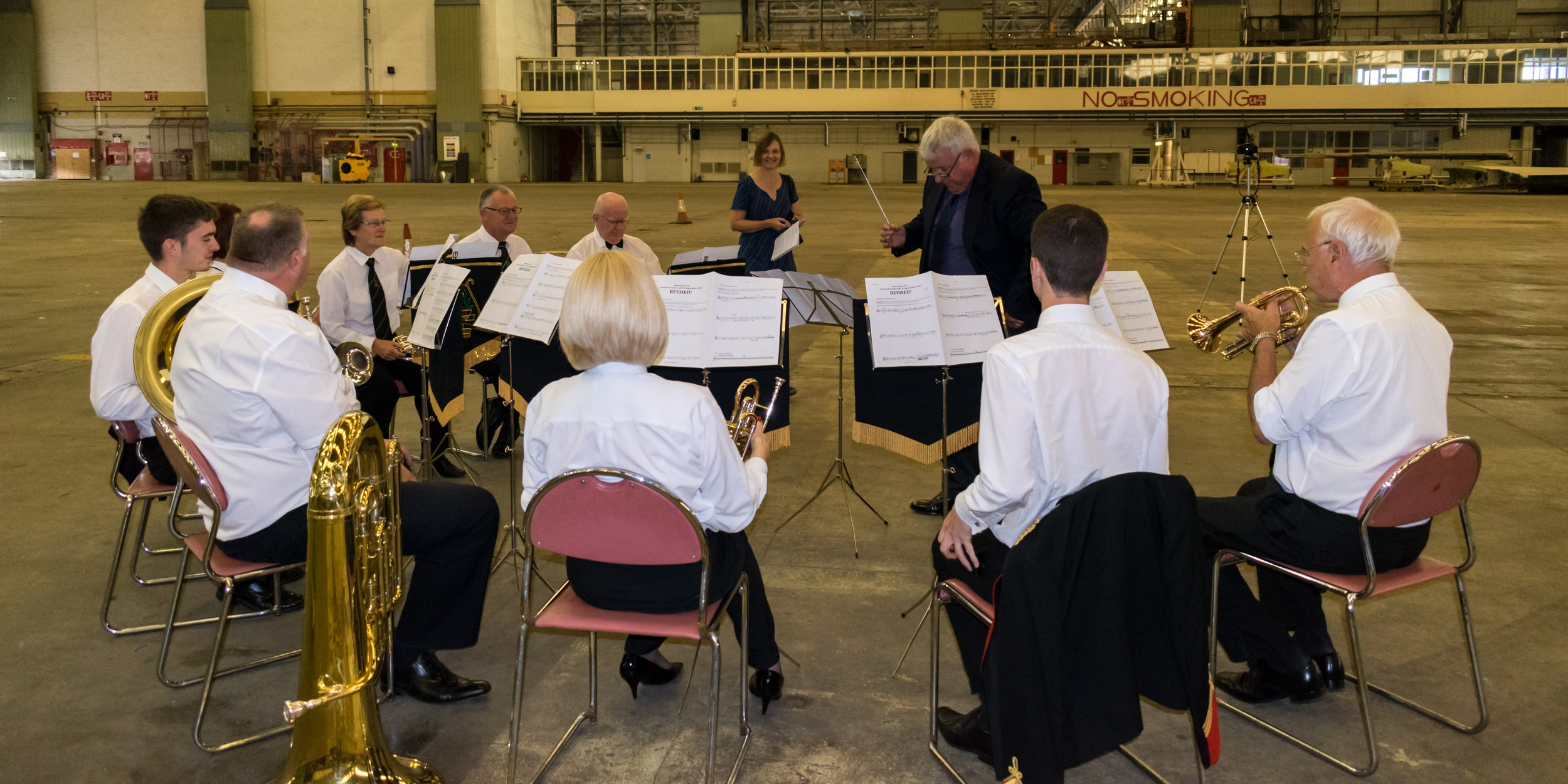 Composer Liz Lane and members of the Lydbrook Band