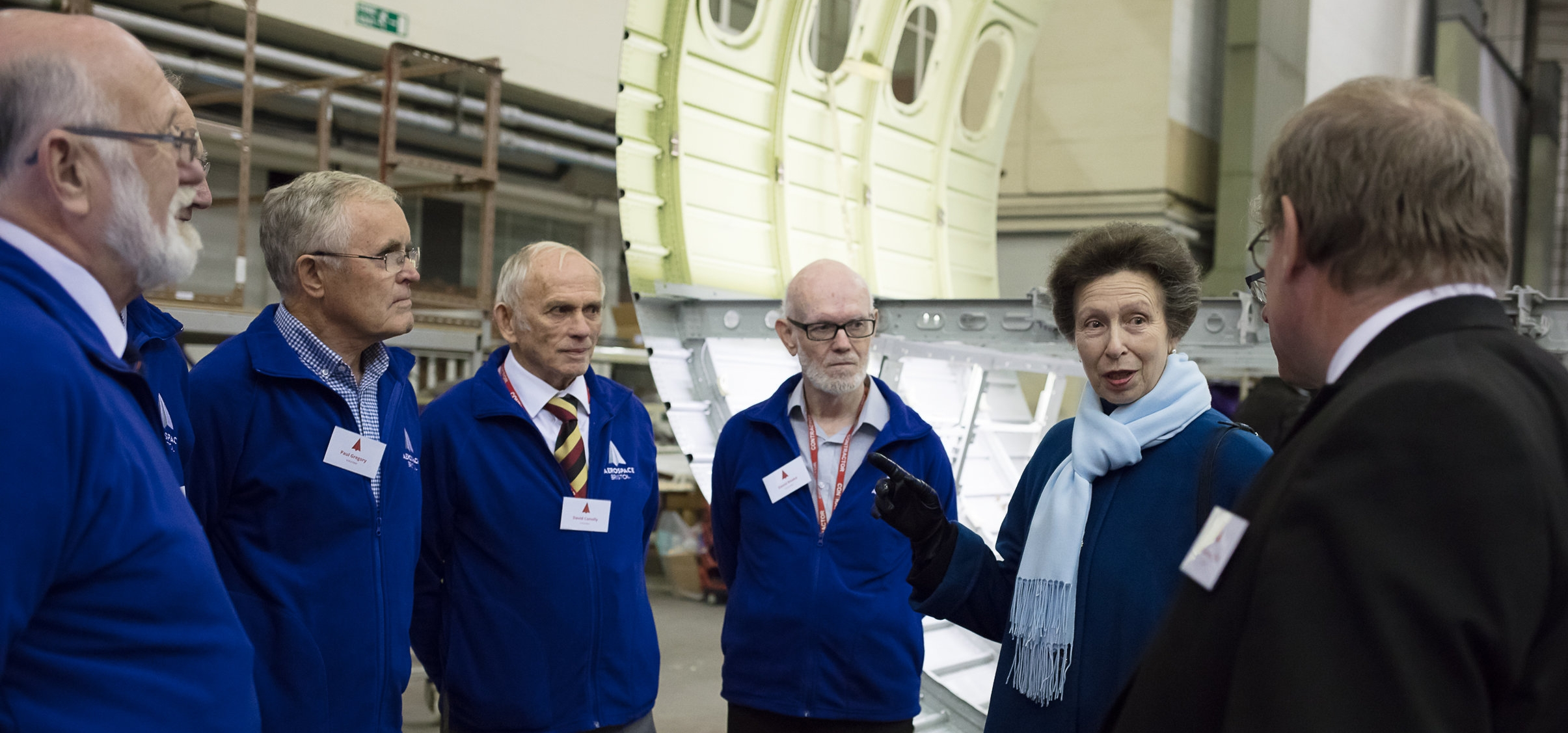 HRH The Princess Royal meets with Iain Gray CBE, Chairman of the Bristol Aero Collection Trust and Aerospace Bristol volunteers