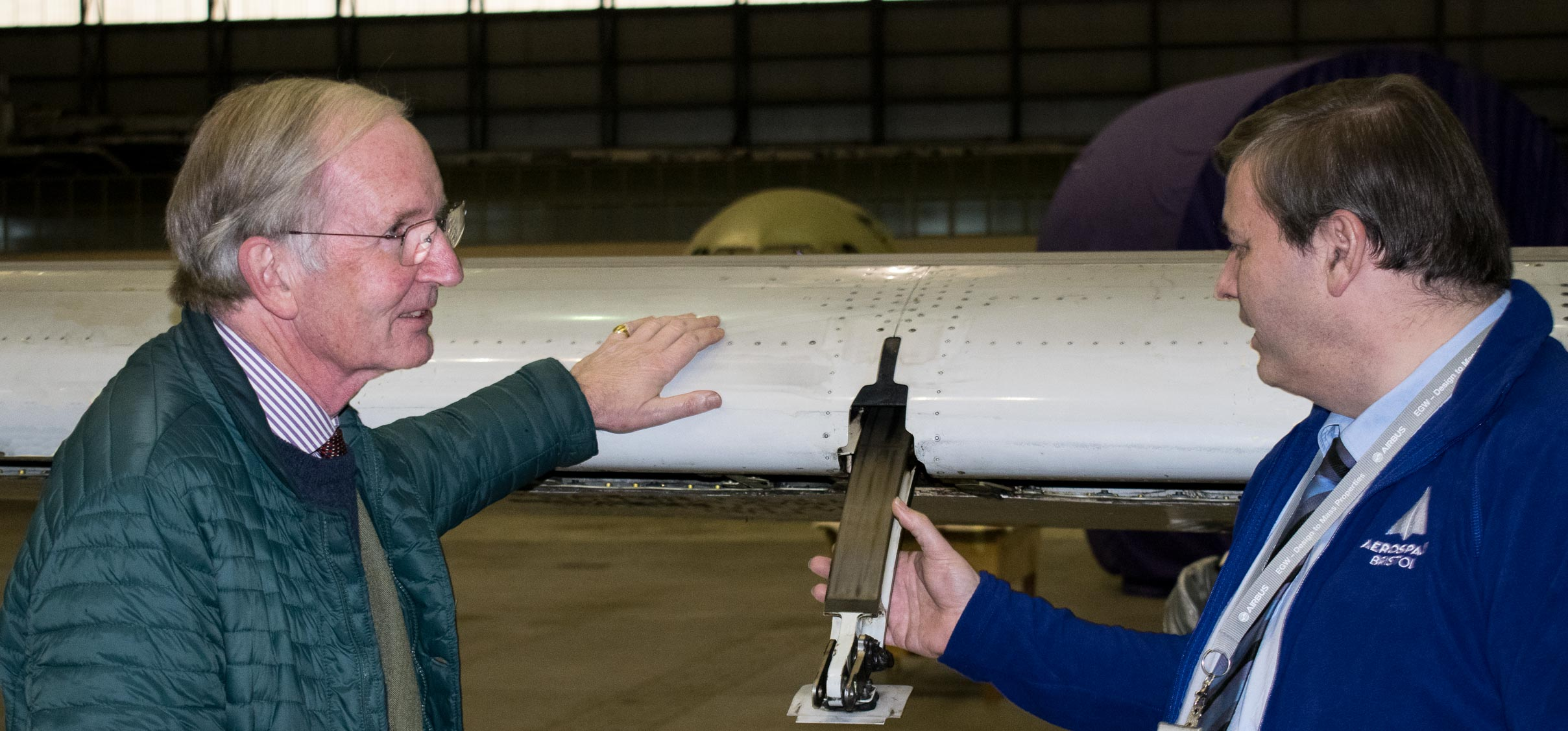 Sir George White meets with an Aerospace Bristol volunteer