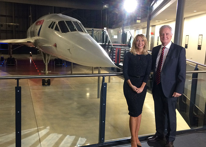 BBC Points West presenters Alex Lovell and David Garmston at Aerospace Bristol