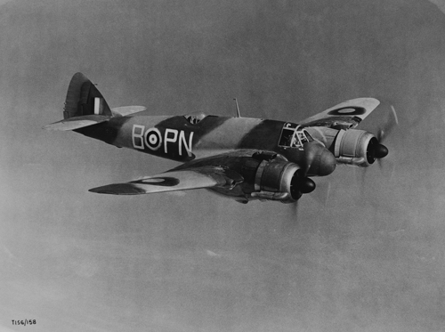 4 April 1943 - A Bristol Beaufighter, torpedo-armed coastal version, accomplished the first successful military action for this Type by sinking 2 German supply ships off the Norwegian coast in WW2.Credit: BAE Systems