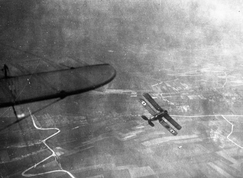 1 April 1918:The Royal Air Force was formed by merging the Royal Flying Corps and Royal Naval Air Service. The first aircraft airborne on the day was a Bristol F2B Fighter.. Credit: BAE Systems