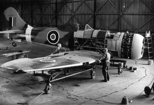 28 June 1943 - Also on 28 June 1943, the first Hawker Tempest FII, LA602, flew powered by a Centaurus IV (2,520 hp/1,879 kW) driving a four-blade propeller. The second, LA607, first flew on 18 September 1943: LA607 was assigned to engine development. The Tempest was a fighter aircraft primarily used by the RAF in WW2. Production aircraft were powered by a Bristol Centaurus engine of various Mks between V and XVIII driving a 12 ft 9 inch (3.89 m) diameter Rotol propeller. The Tempest was flown by 5; 16; 20; 26; 30; 33; 54; 152; 183; 247 Squadrons.Credit: BAE Systems via Brooklands Museum