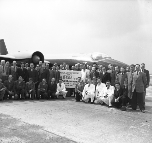 29 August 1955 - Wing Commander Walter Gibb flew an English Electric Canberra aircraft powered by 2 Bristol Olympus 102 engines to an altitude record of 65,889 ft.Credit: BAE Systems