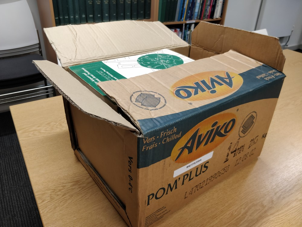 An old cardboard box isn't the ideal condition for archive documents