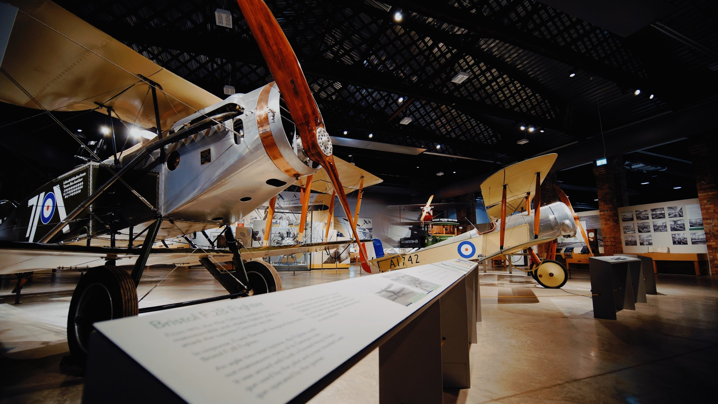 A replica Bristol Fighter and Bristol Scout on display at Aerospace Bristol