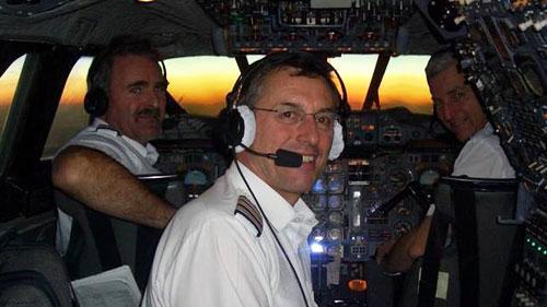 Concorde Captain Adrian Thompson (left)