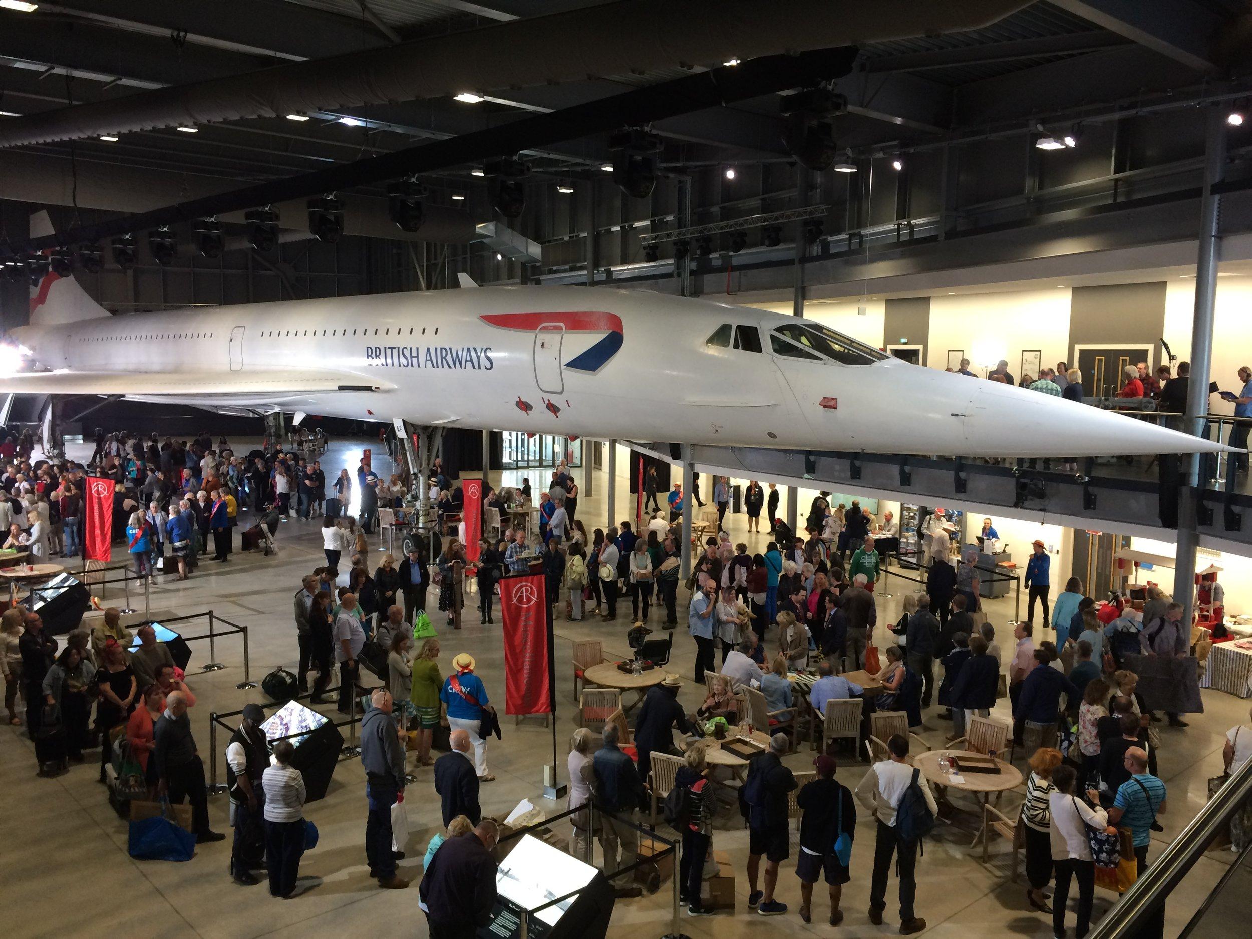 BBC Antiques Roadshow under Concorde at Aerospace Bristol