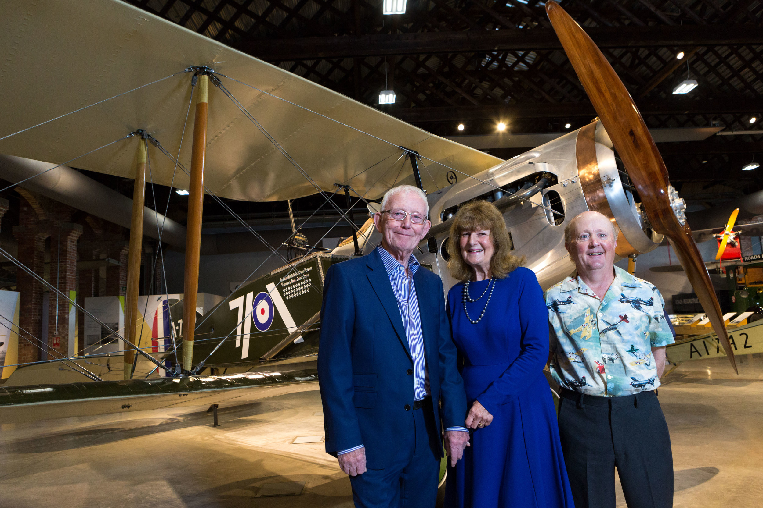 Andrew McKeever's great nephew, Ross Thompson (right) and Leslie Powell's grand-daughter, Mrs Jan Absolom (centre)