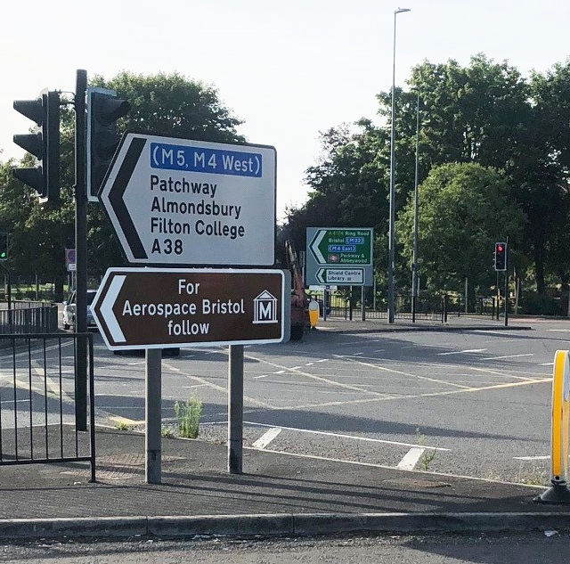 An Aerospace Bristol sign is shown at the start of each route. There is one just off M5 junction 16, one just off M5 junction 17, and one at the Filton Roundabout on the A38.
