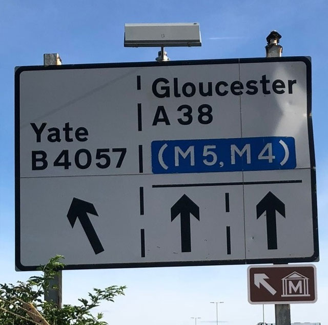 After the Aerospace Bristol signs, the museum symbol is used for the rest of each route.