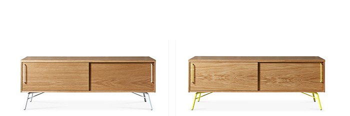 Stevie Media Unit (AKA Ashburn) in  white & oak  and  yellow & oak